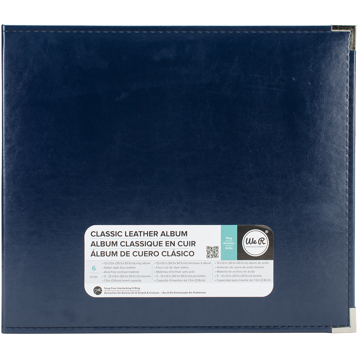 We R Classic Leather D-Ring Album 12X12-Navy