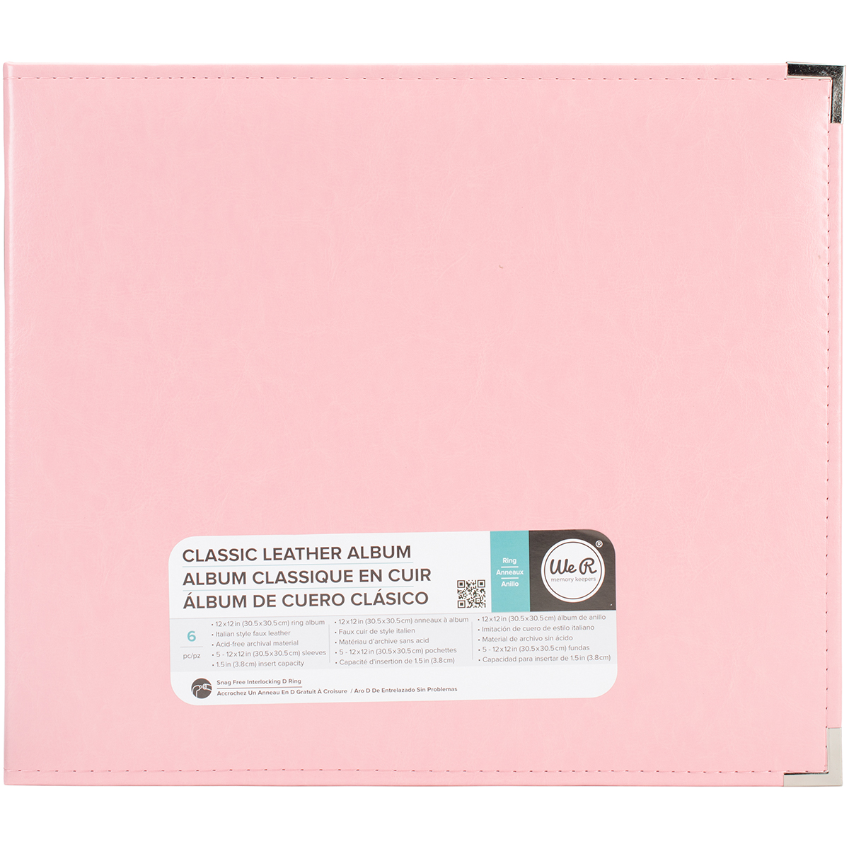 We R Classic Leather D-Ring Album 12X12-Pretty Pink