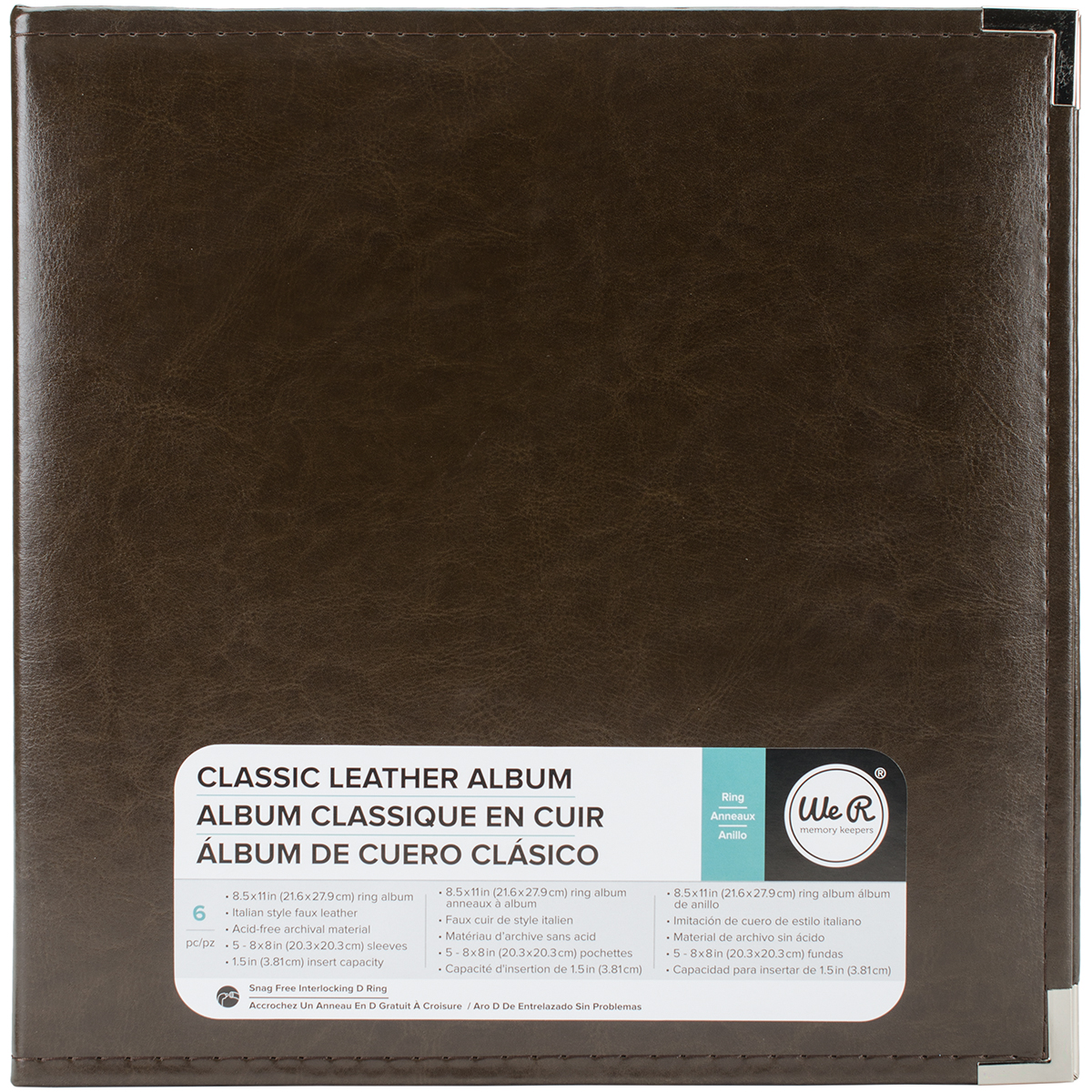 We R Classic Leather D-Ring Album 8.5X11-Dark Chocolate