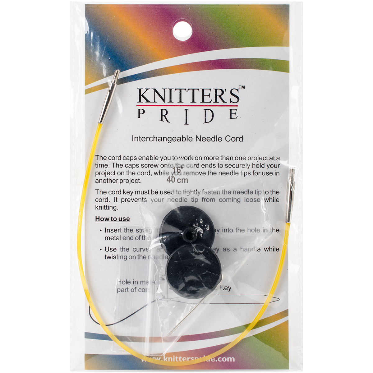 Knitter's Pride-Interchangeable Cords 8 (16 w/tips)-Yellow