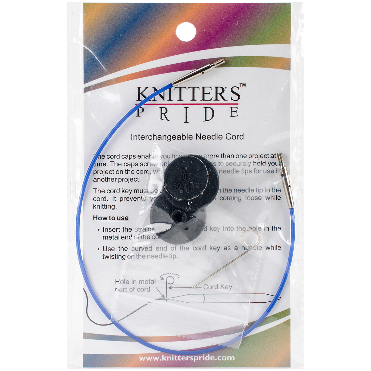 Knitter's Pride-Interchangeable Cords 11 (20 w/tips)-Blue