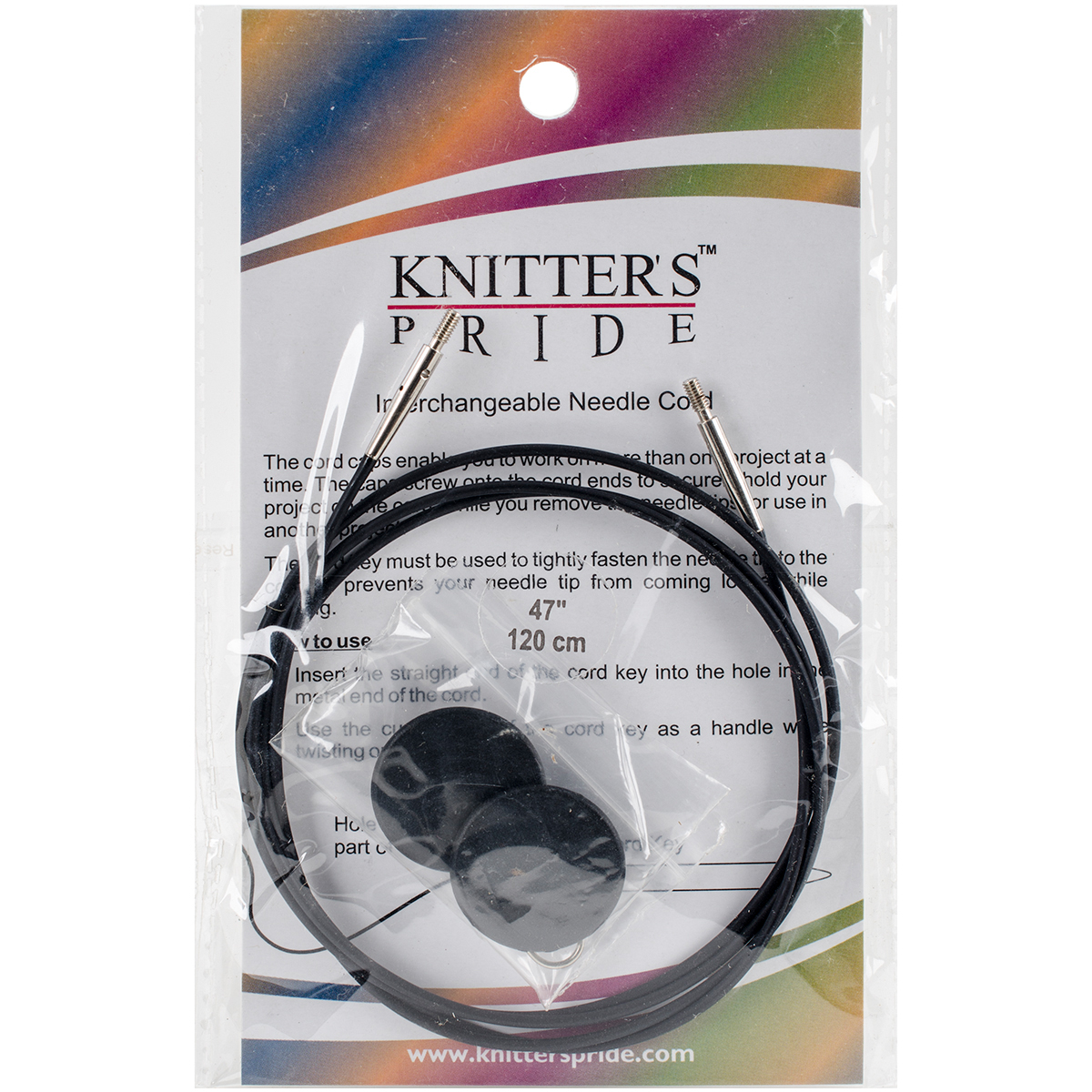 Knitter's Pride-Interchangeable Cords 37 (47 w/ tips)-Black