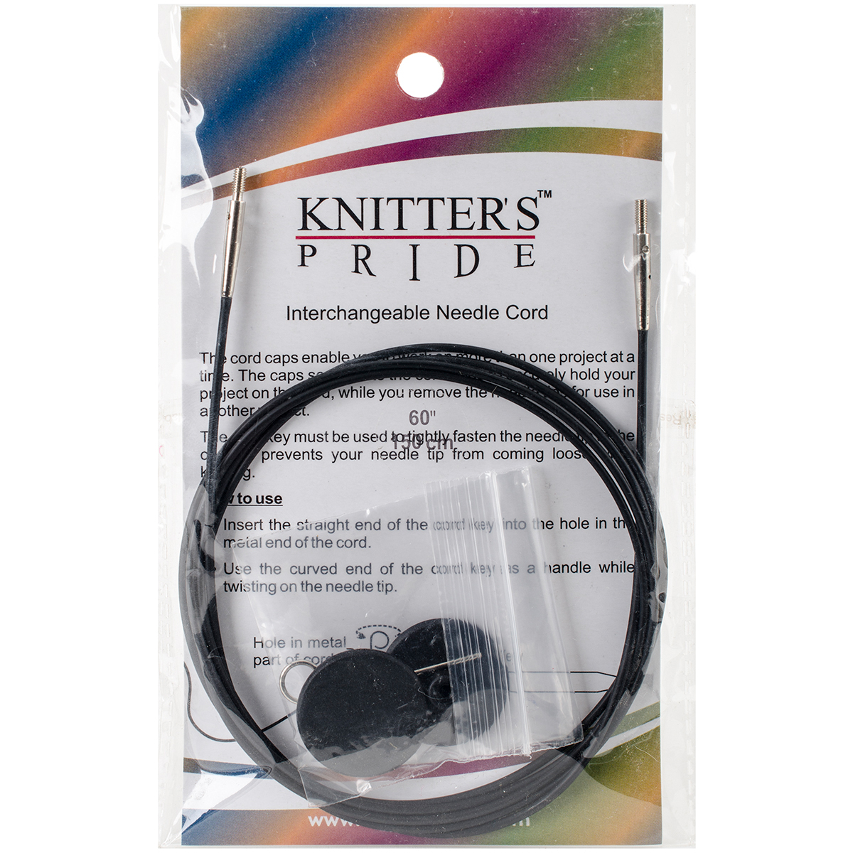 Knitter's Pride-Interchangeable Cords 49 (60 w/ tips)-Black