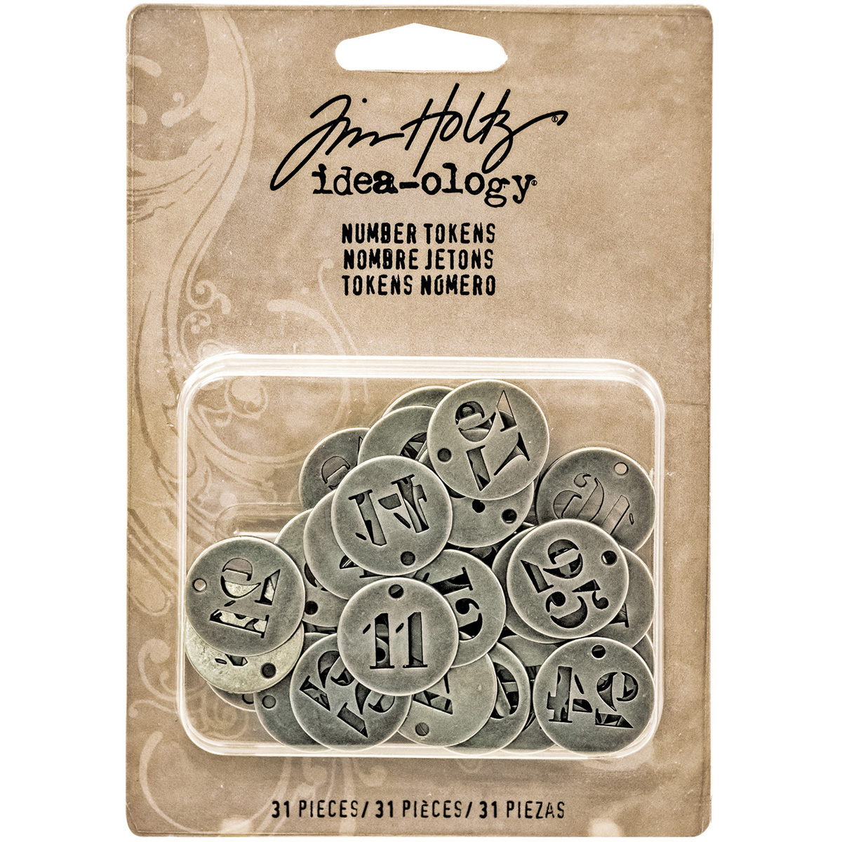 Idea-Ology Metal Number Tokens 31/Pkg-Antique Silver .75