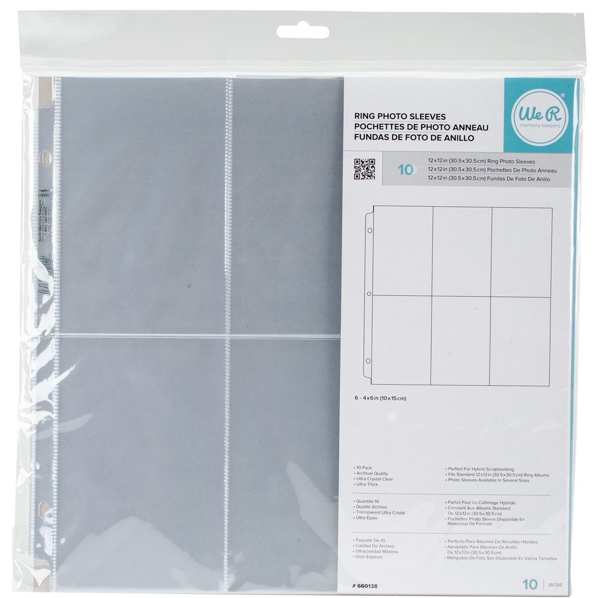 We R Ring Photo Sleeves 12X12 10/Pkg-(6) 6X4 Pockets