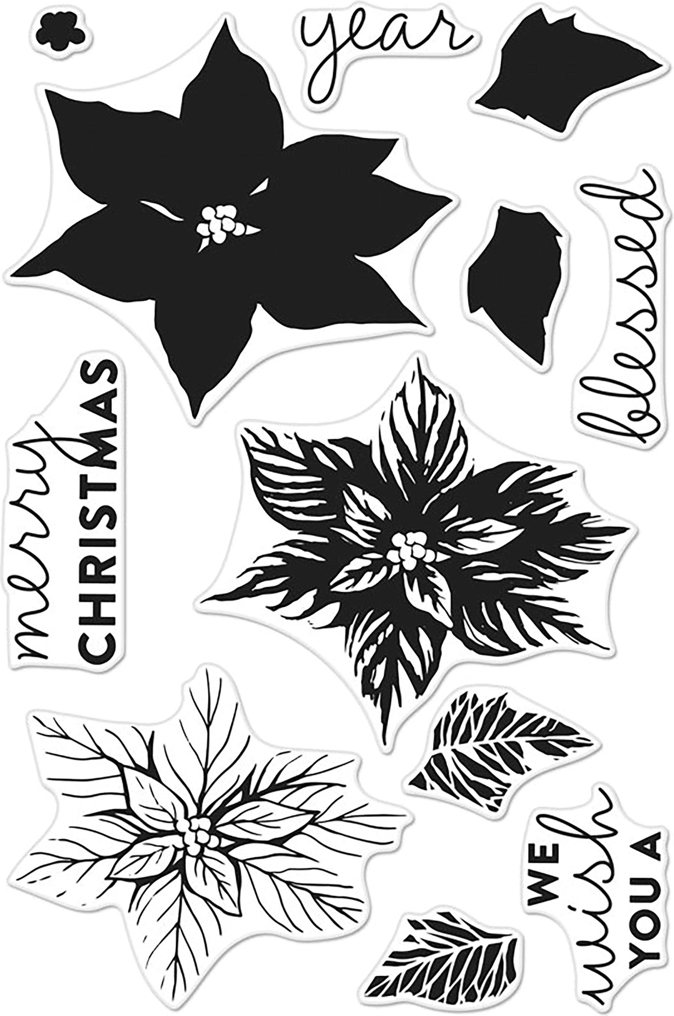 Hero Arts Clear Stamps 4X6-Color Layering Poinsettia