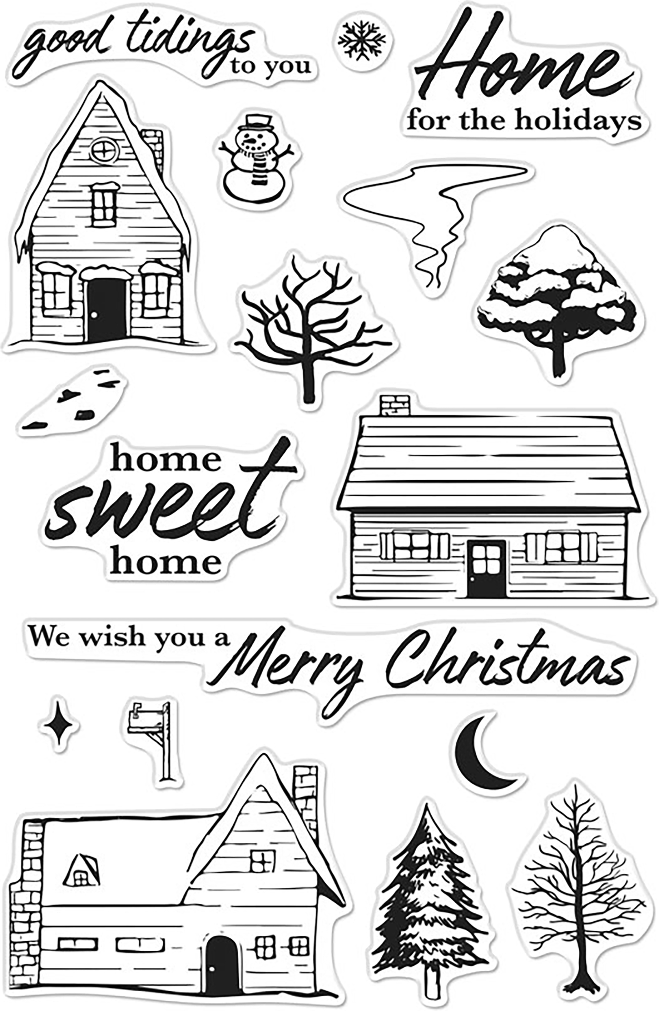 Hero Arts Clear Stamps 4X6-Home For The Holidays