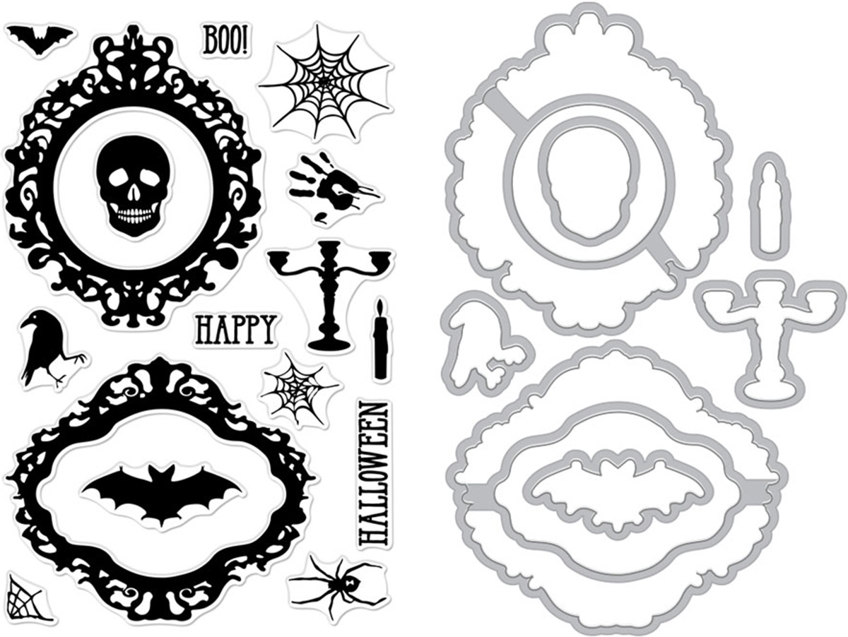 Hero Arts Clear Stamp & Die Combo-Halloween Mirror