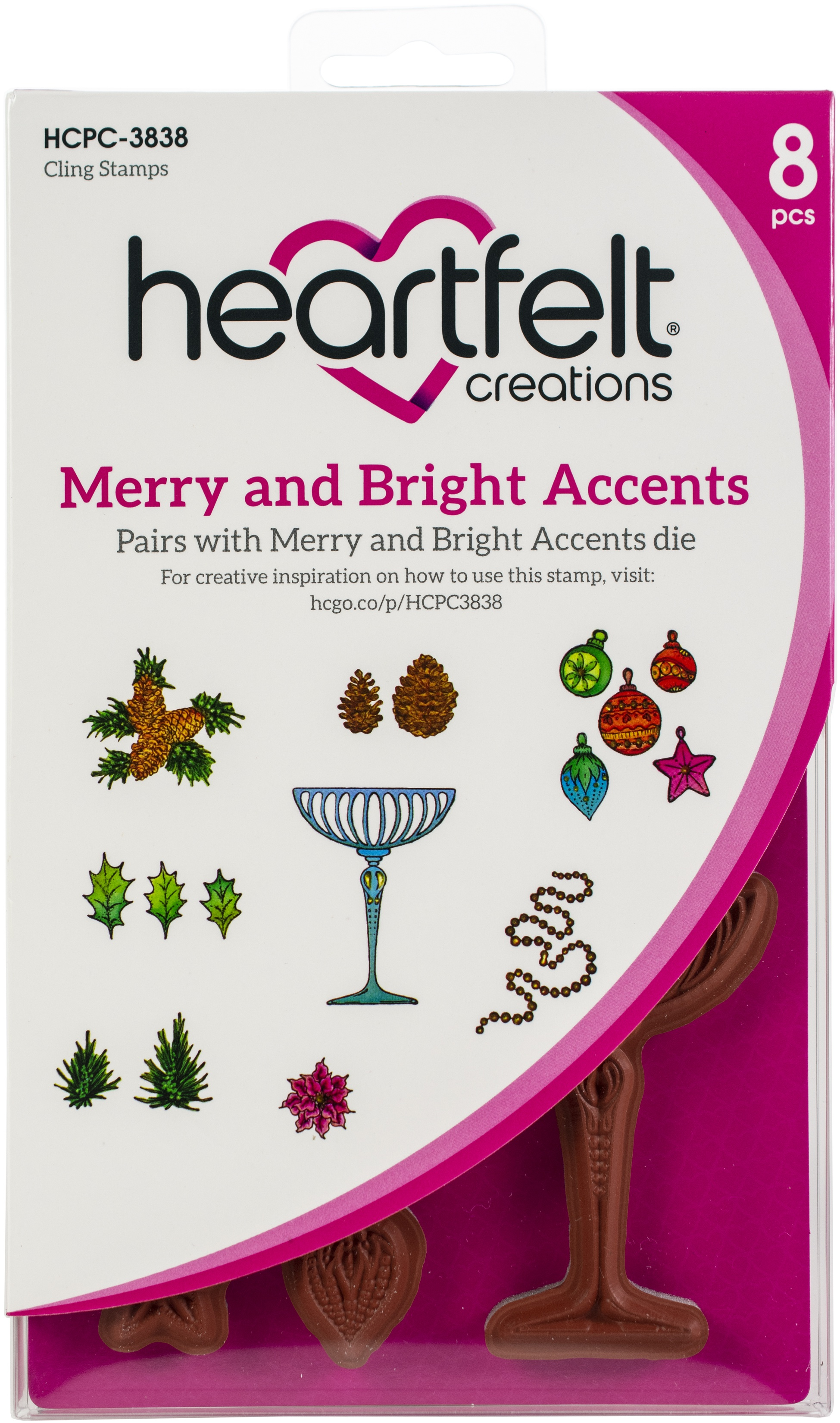 Heartfelt Creations Cling Rubber Stamp and die  Set 5X6.5-Merry And Bright Accents