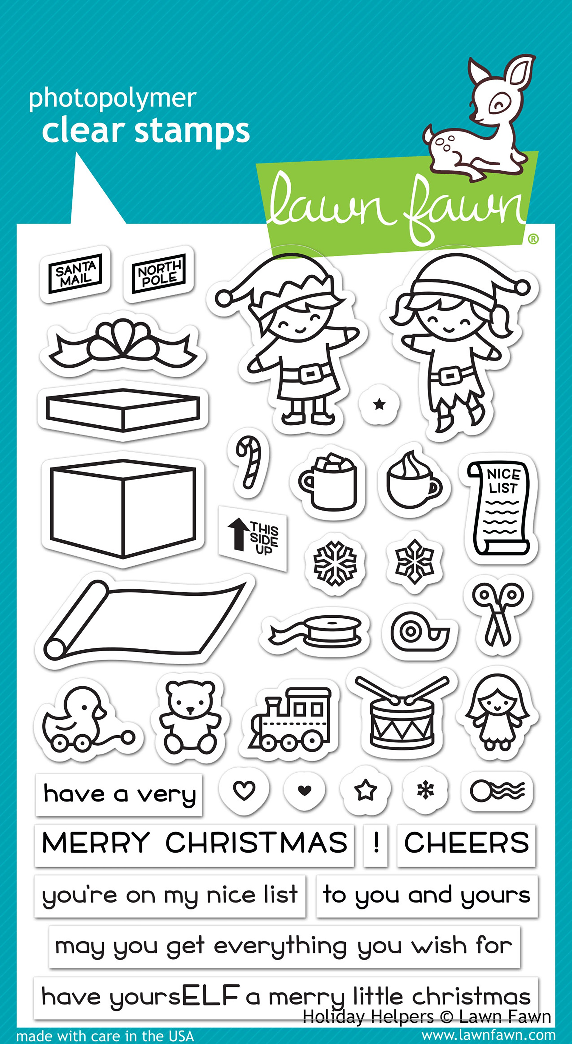 Lawn Fawn Clear Stamps 4X6-Holiday Helpers