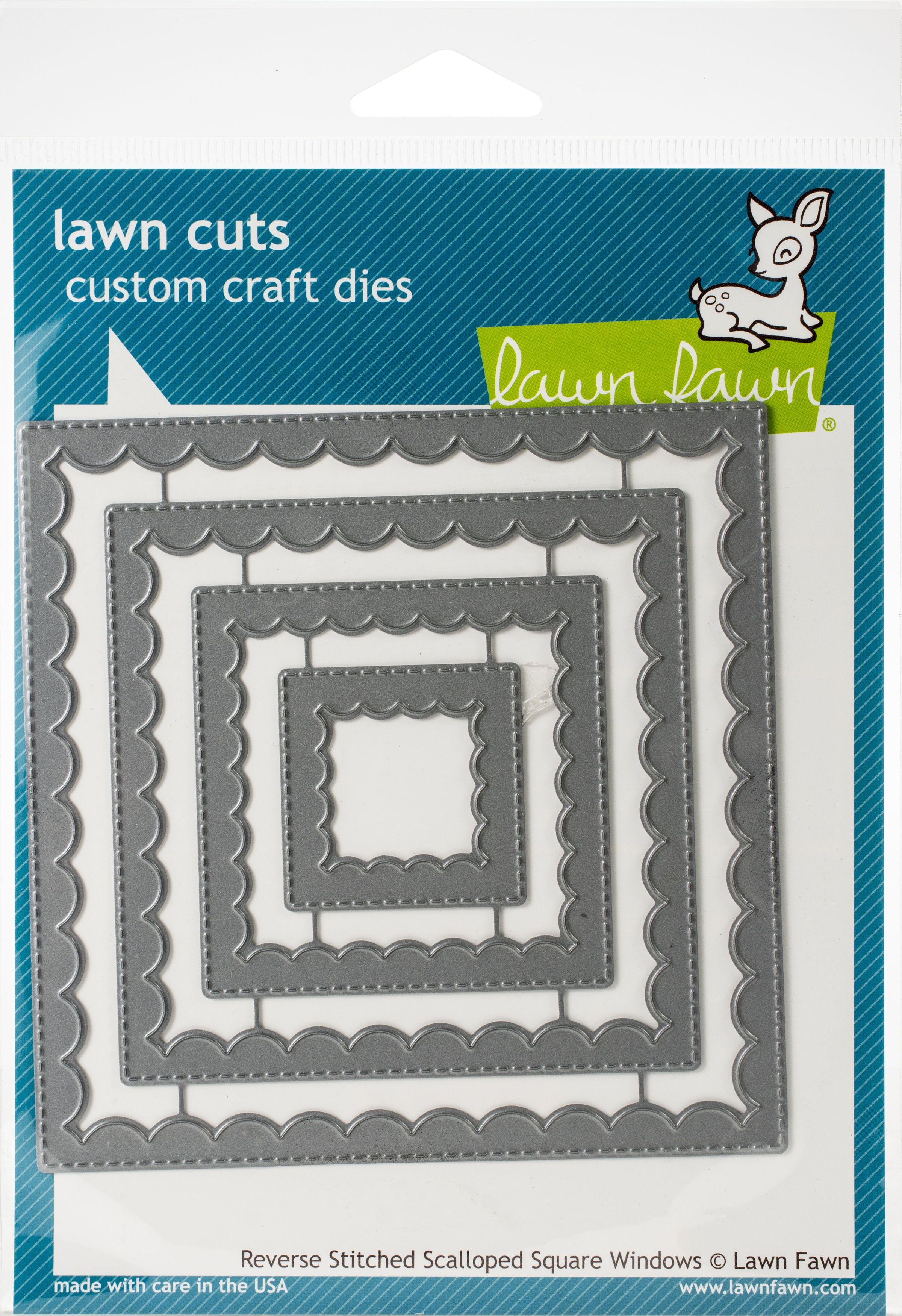 Lawn Cuts Custom Craft Die-Reverse Stitched Scalloped Square Window