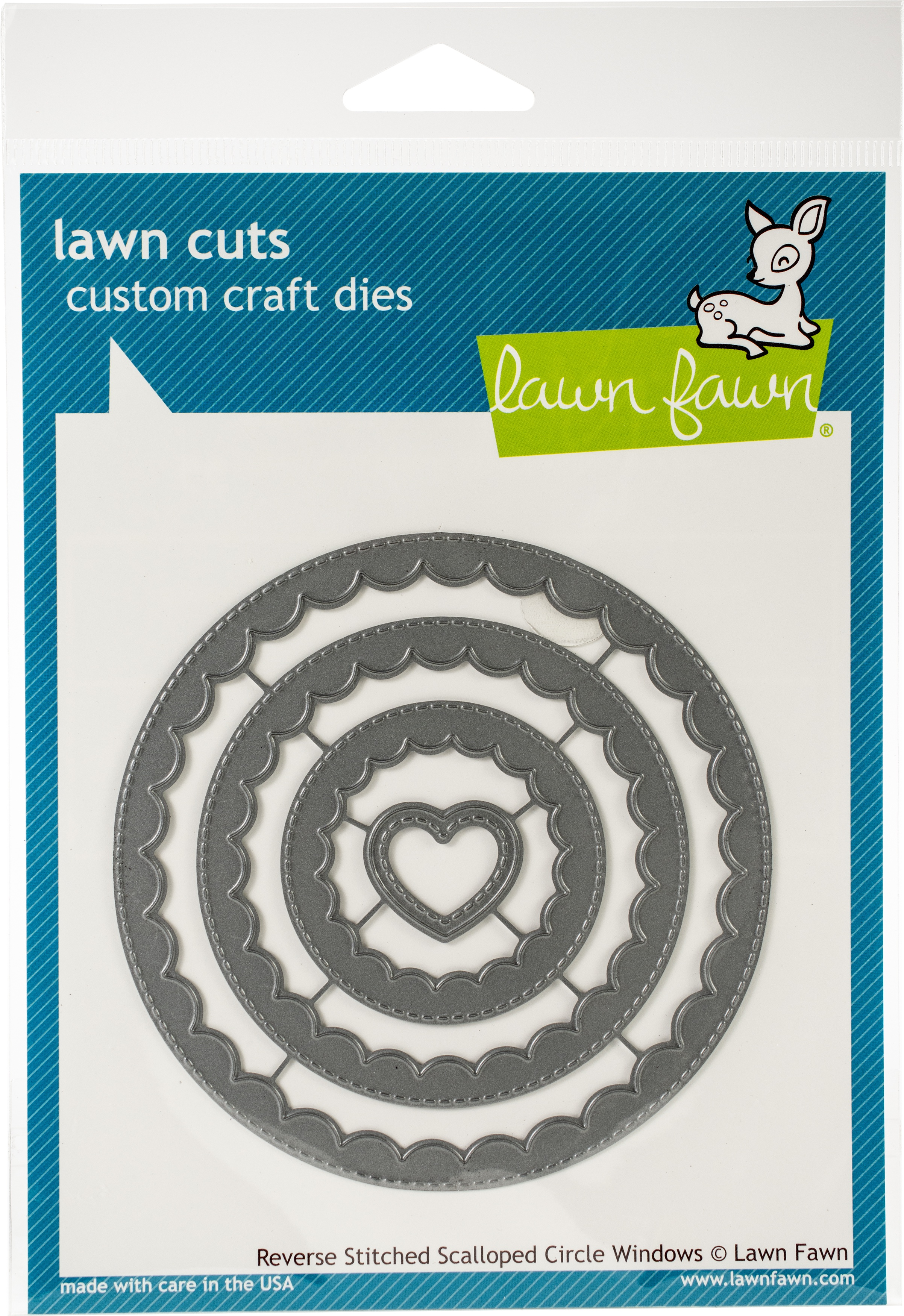 Lawn Cuts Custom Craft Die-Reverse Stitched Scalloped Circle Window