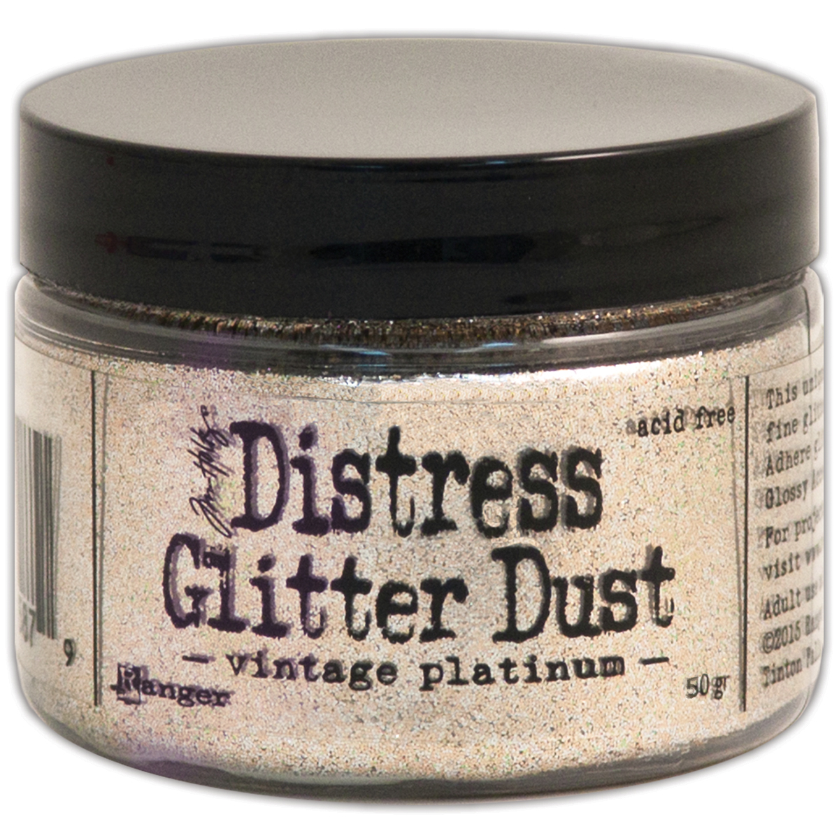 Tim Holtz Distress Glitter Dust 50g-Vintage Platinum