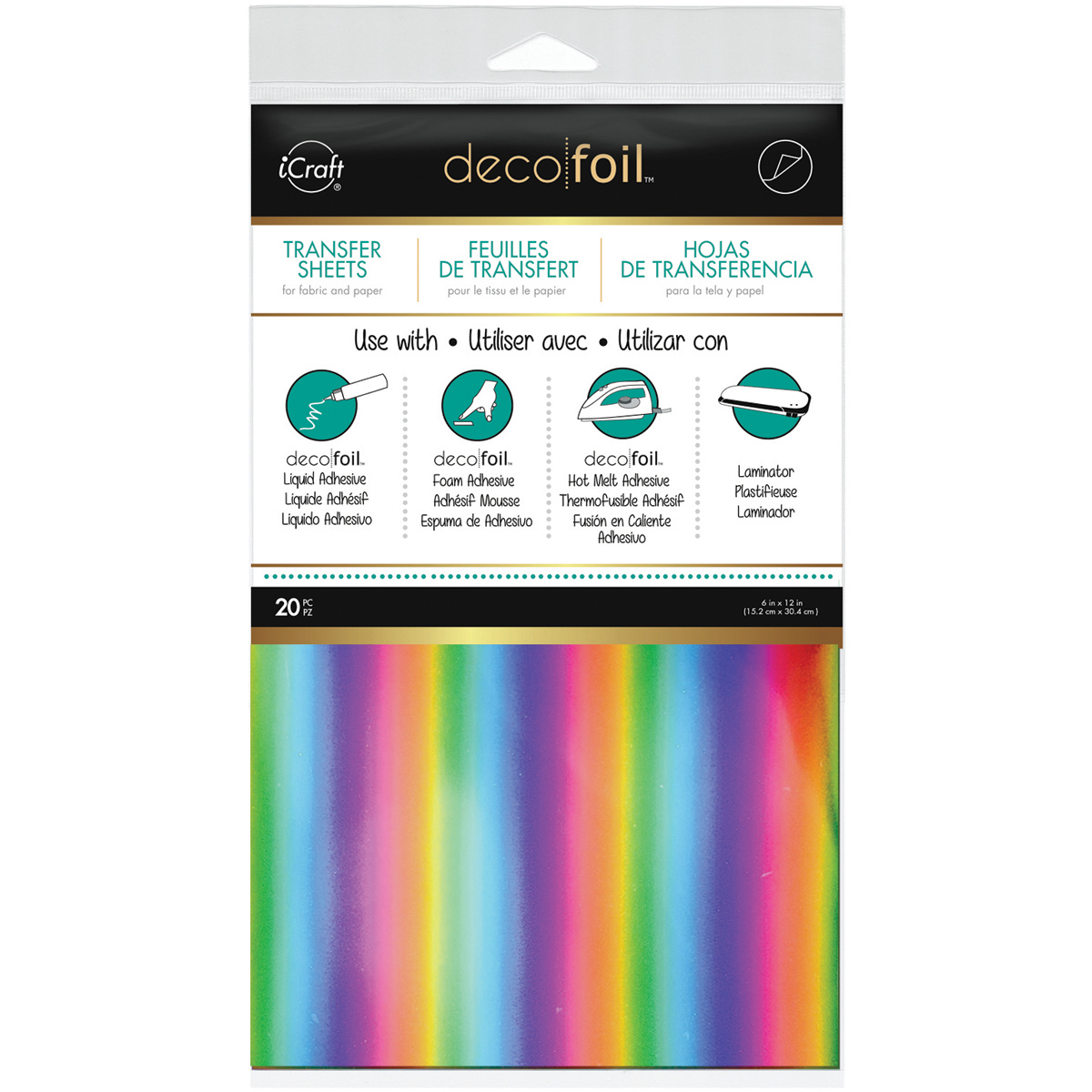 Deco Foil Transfer Sheets 6X12 20/Pkg-Rainbow