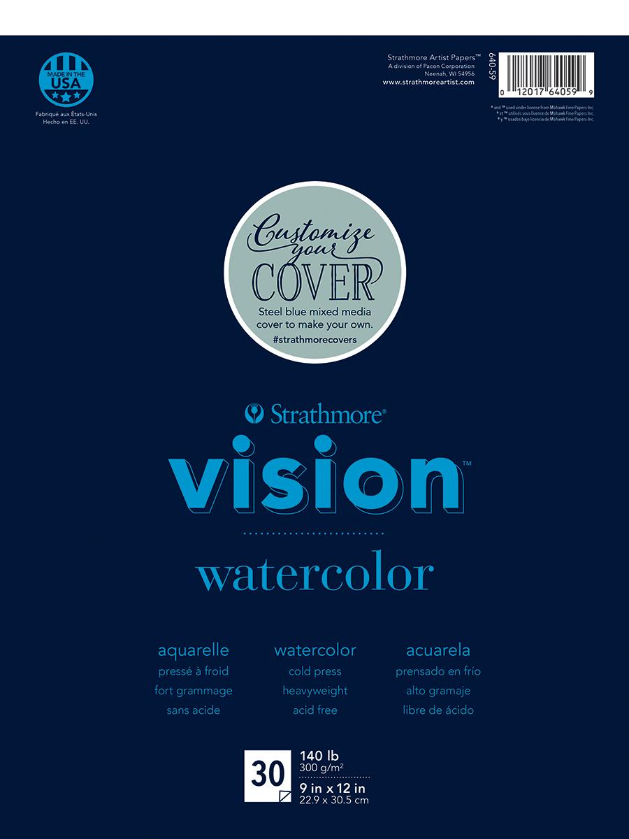 Strathmore Vision Cold Press Watercolor Pad 9X12-140lb, 30 Sheets