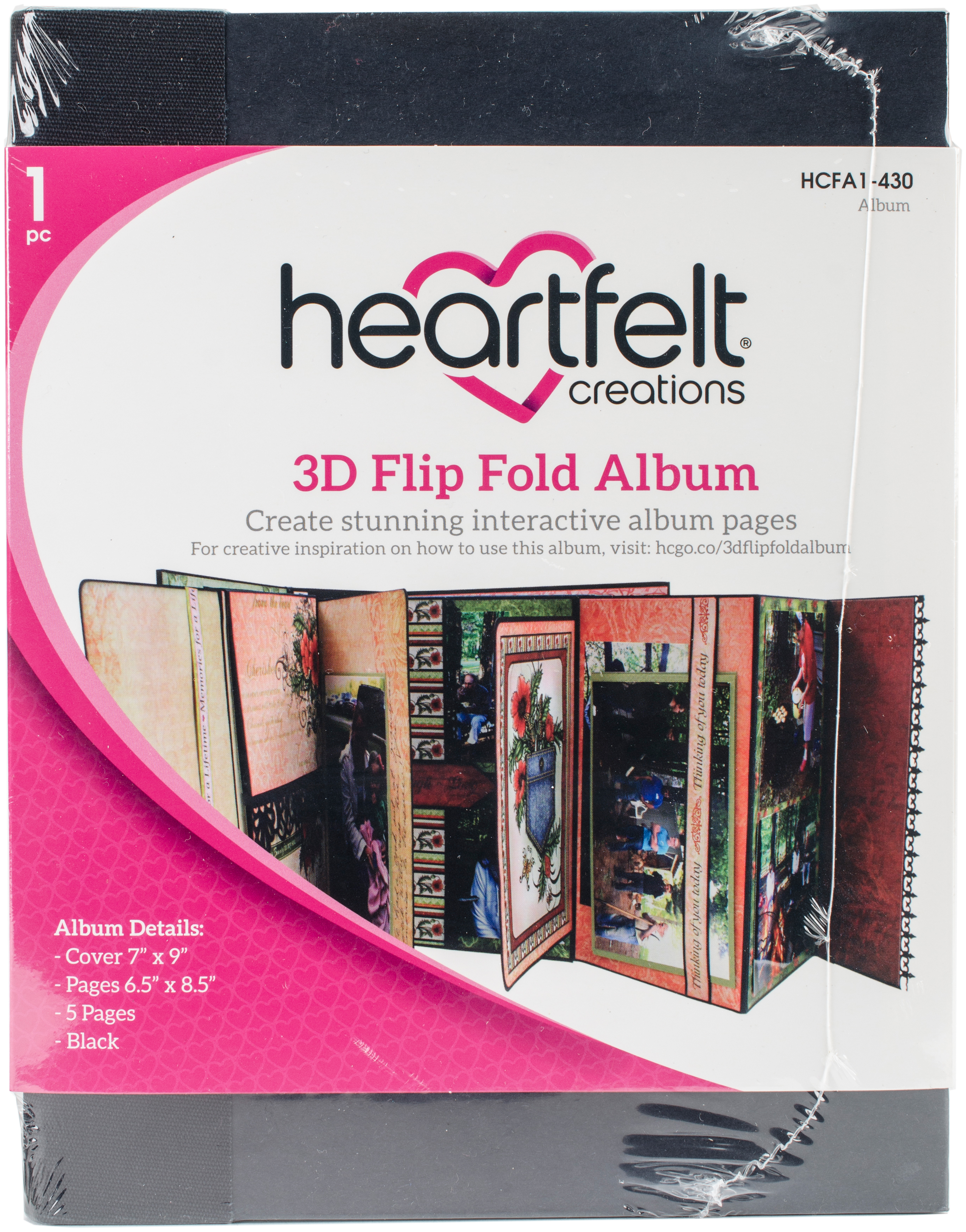 Heartfelt Creations 3D Flip Fold Album 7X9-Black