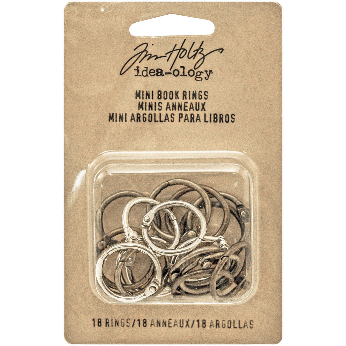 Idea-Ology Metal Mini Book Rings .75 18/Pkg-Silver, Antique Brass & Antique Cop...