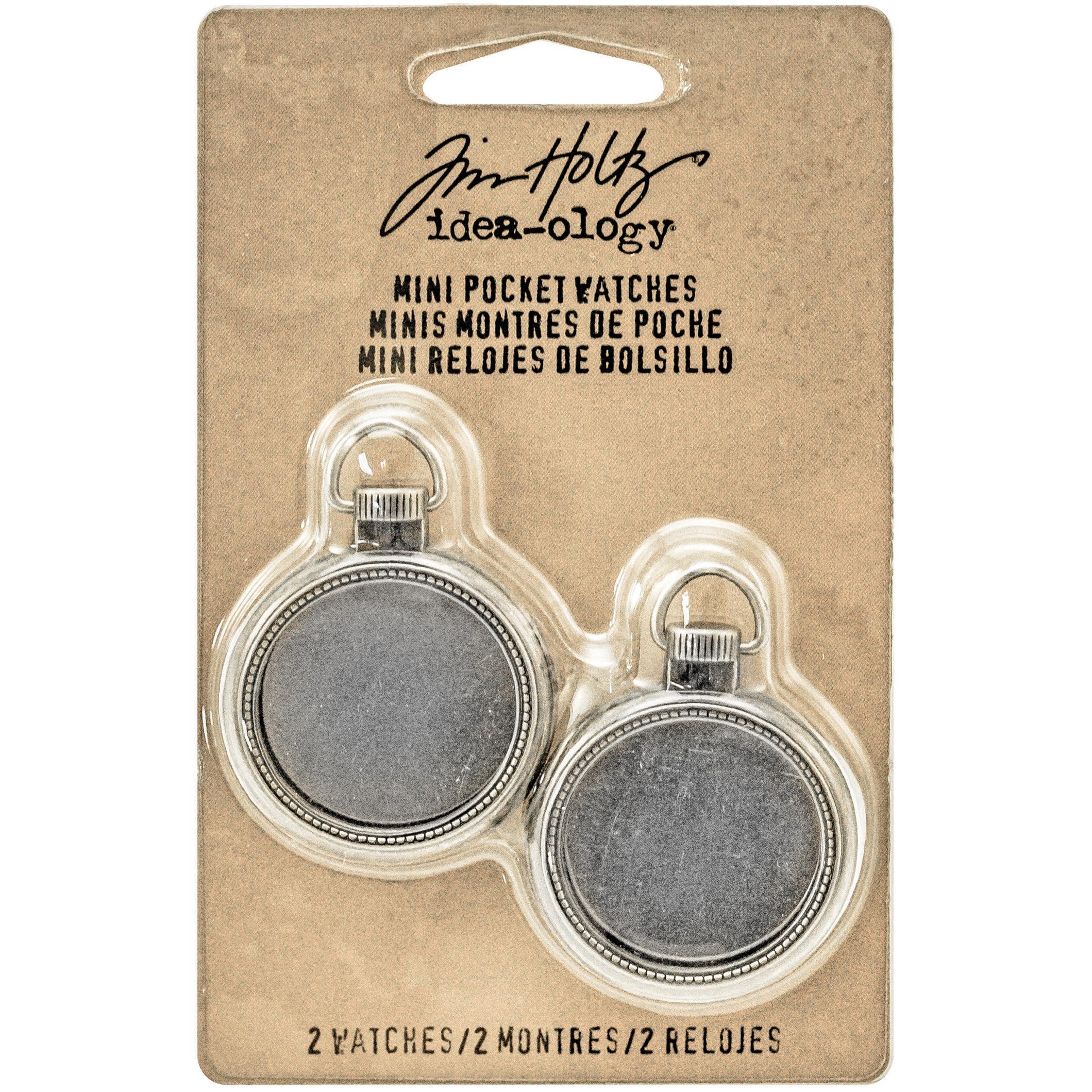 Idea-Ology Metal Mini Pocket Watch Frames 1 2/Pkg-Antique Nickel