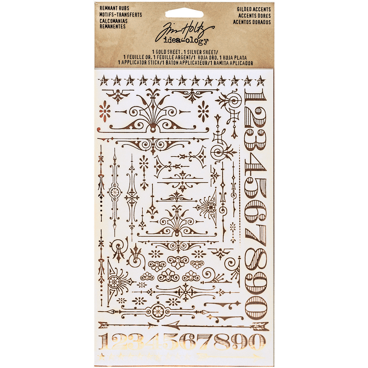 Idea-Ology Remnant Rubs Foil Rub-Ons 4.75X7.75 2/Pkg-Gilded Accents - 1 Silver...