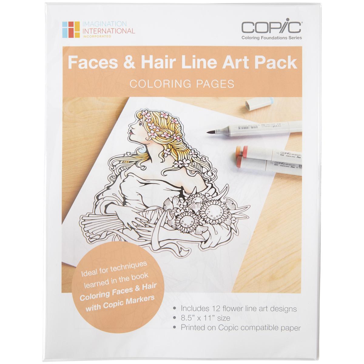 Faces & Hair Line Art Pack