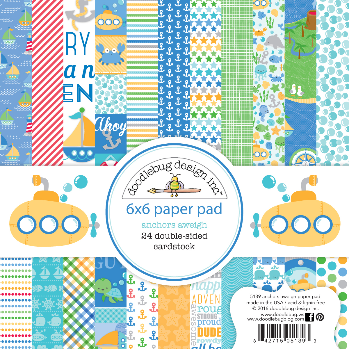 Doodlebug Double-Sided Paper Pad 6X6 24/Pkg-Anchors Aweigh, 12 Designs/2 Each
