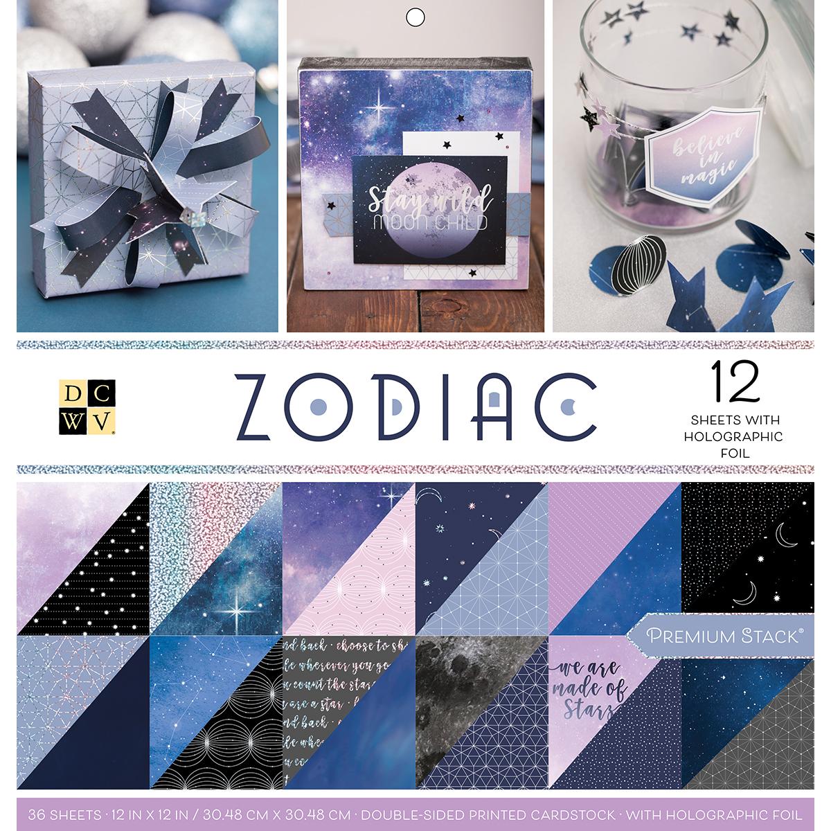 DCWV Double-Sided Cardstock Stack 12X12 36/Pkg-Zodiac, 18 Designs/2 Each, 12 W/Foil