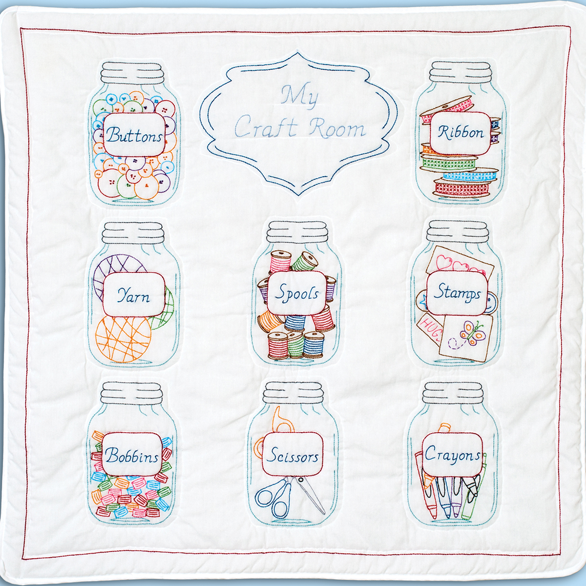 Jack Dempsey Stamped White Wall Or Lap Quilt 36X36-Mason Jars