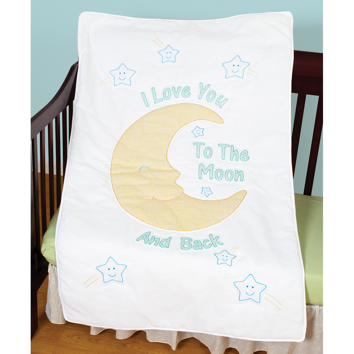 Stamped Embroidery Crib Top - I Love You to the Moon