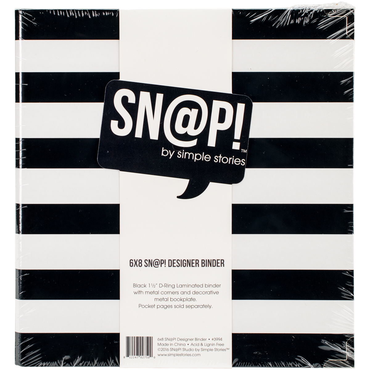 Simple Stories Sn@p! Designer Binder 6X8-Black Stripe
