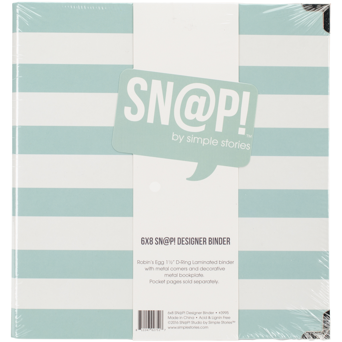 Simple Stories Sn@p! Designer Binder 6X8-Robin's Egg Stripe