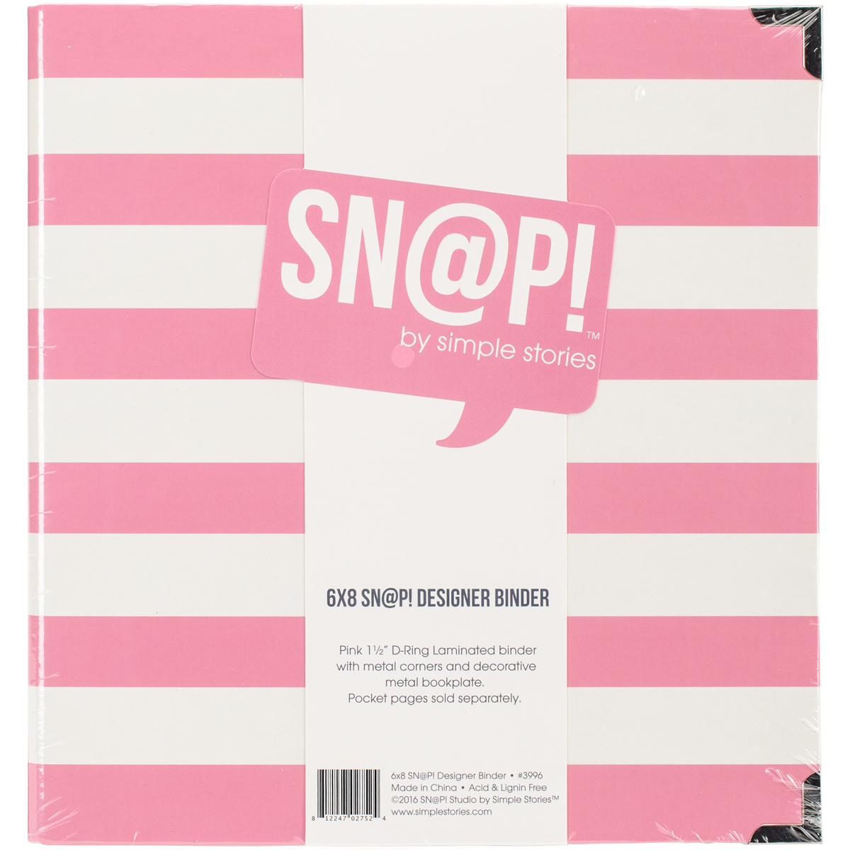 SNAP! - 6x8 Designer Binder - Pink Stripe