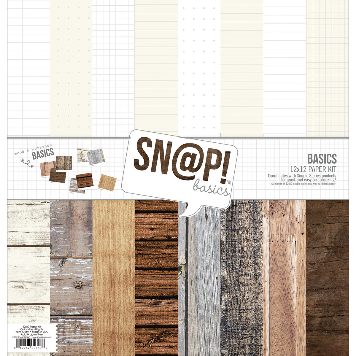 Sn@p! Wood & Notebook Basics Paper KitSimple Stories Double-Sided Paper Pack 12X12 8/Pkg