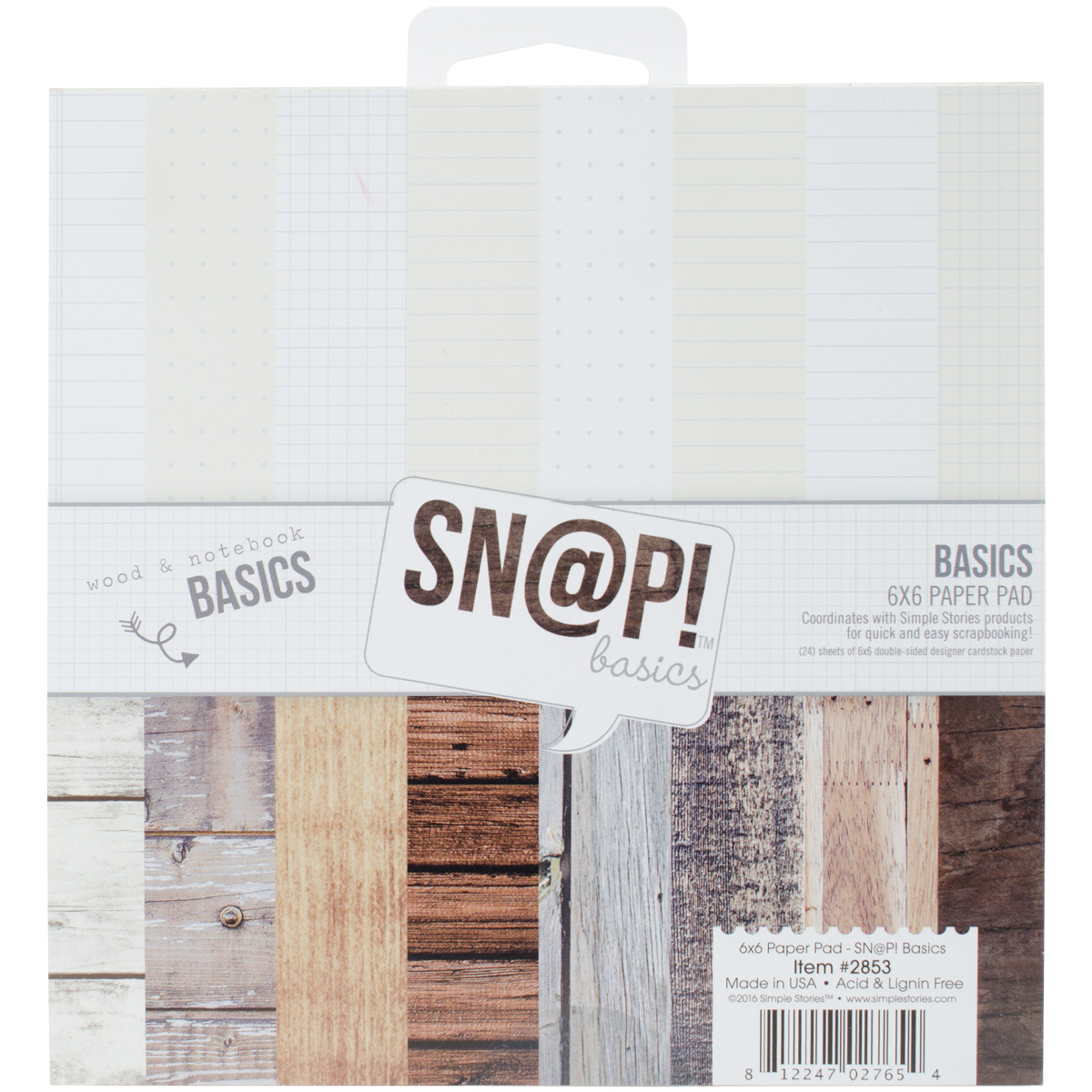 Simple Stories Double-Sided Paper Pad 6X6 24/Pkg-Sn@p! Color Vibe Basics Wood ...