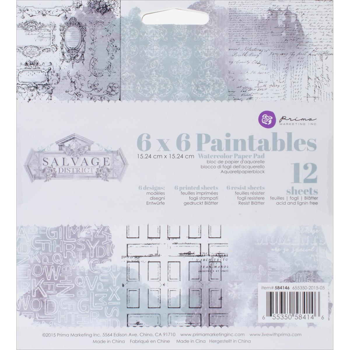 Prima Marketing Paintables Watercolor Paper Pad 6X6 12/Pkg-Salvage District