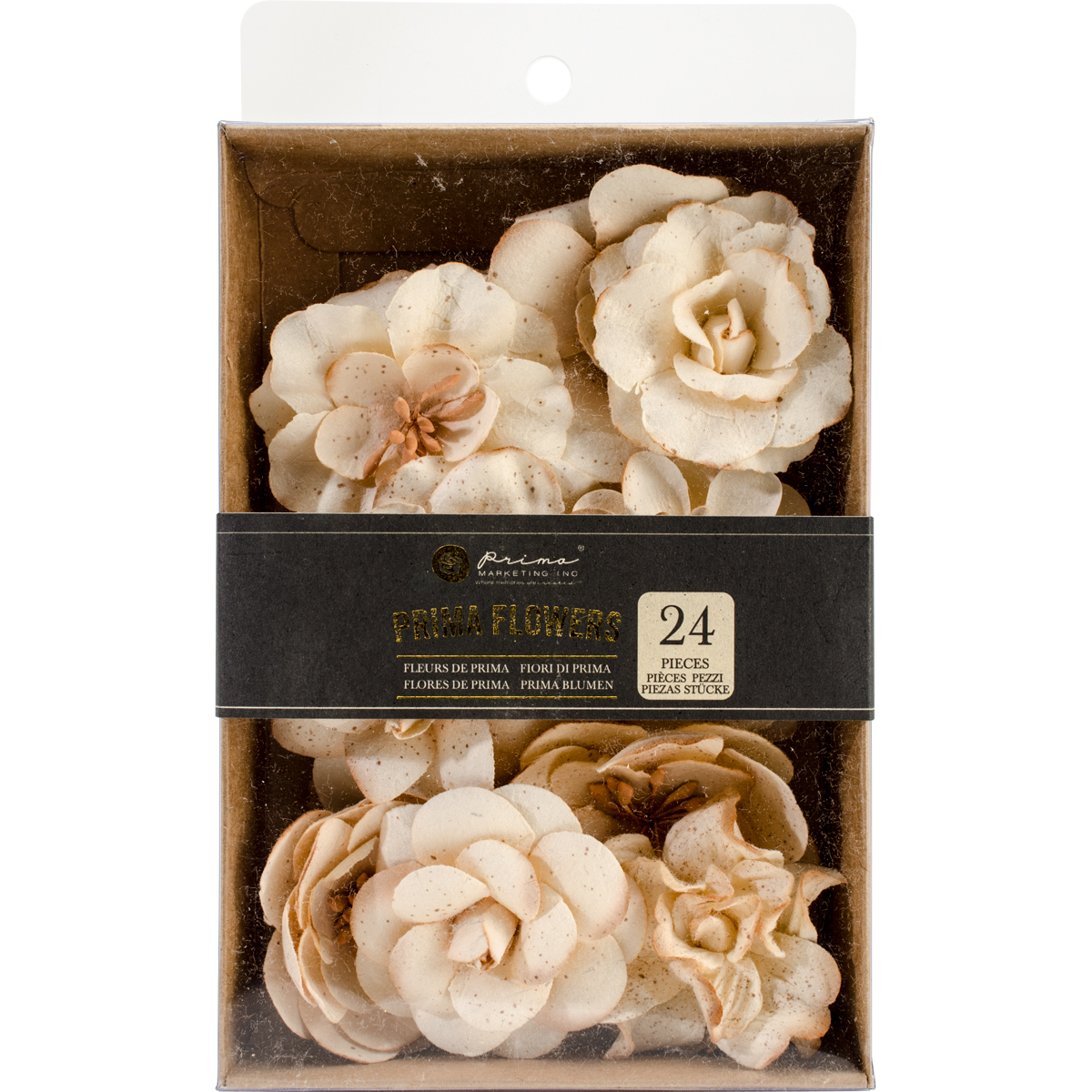 Boxed Mulberry Paper Flowers Purity W/Glitter