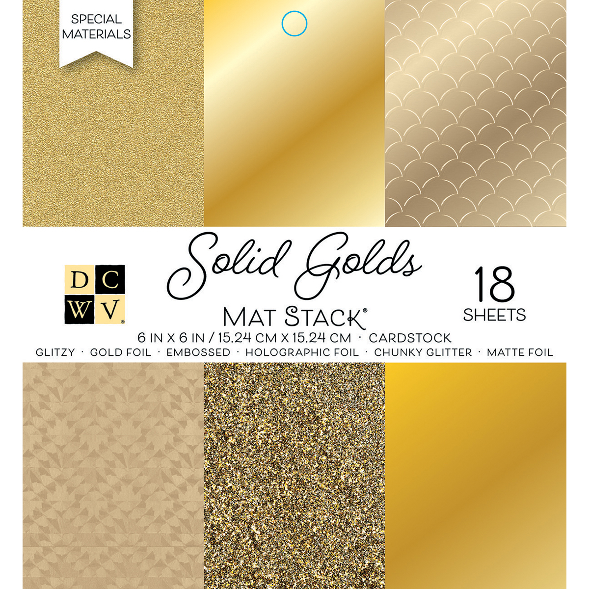 DCWV Single-Sided Cardstock Stack 6X6 18/Pkg-Solid Golds, 6 designs/3 each