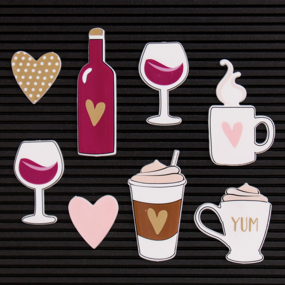 DCWV Letterboard Icons 14/Pkg-Coffee & Wine
