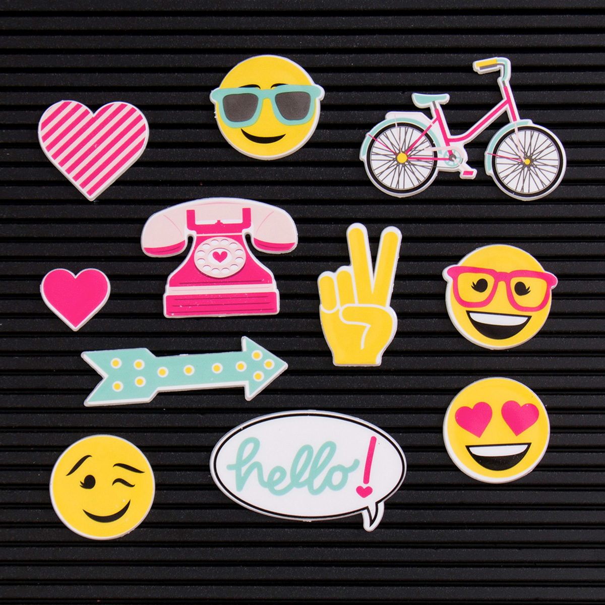DCWV Letterboard Icons 14/Pkg-Happy
