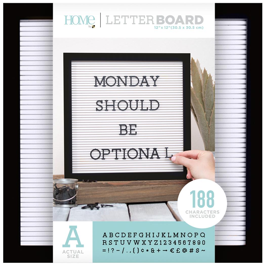 DCWV Framed Letterboard 12X12-Black W/White Insert