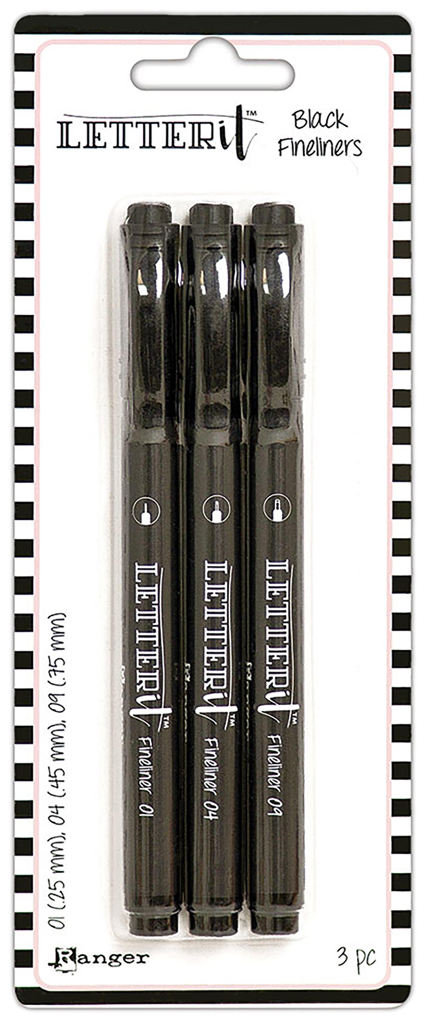 Ranger Letter It Fineliner Pen Set 3/Pkg-Black