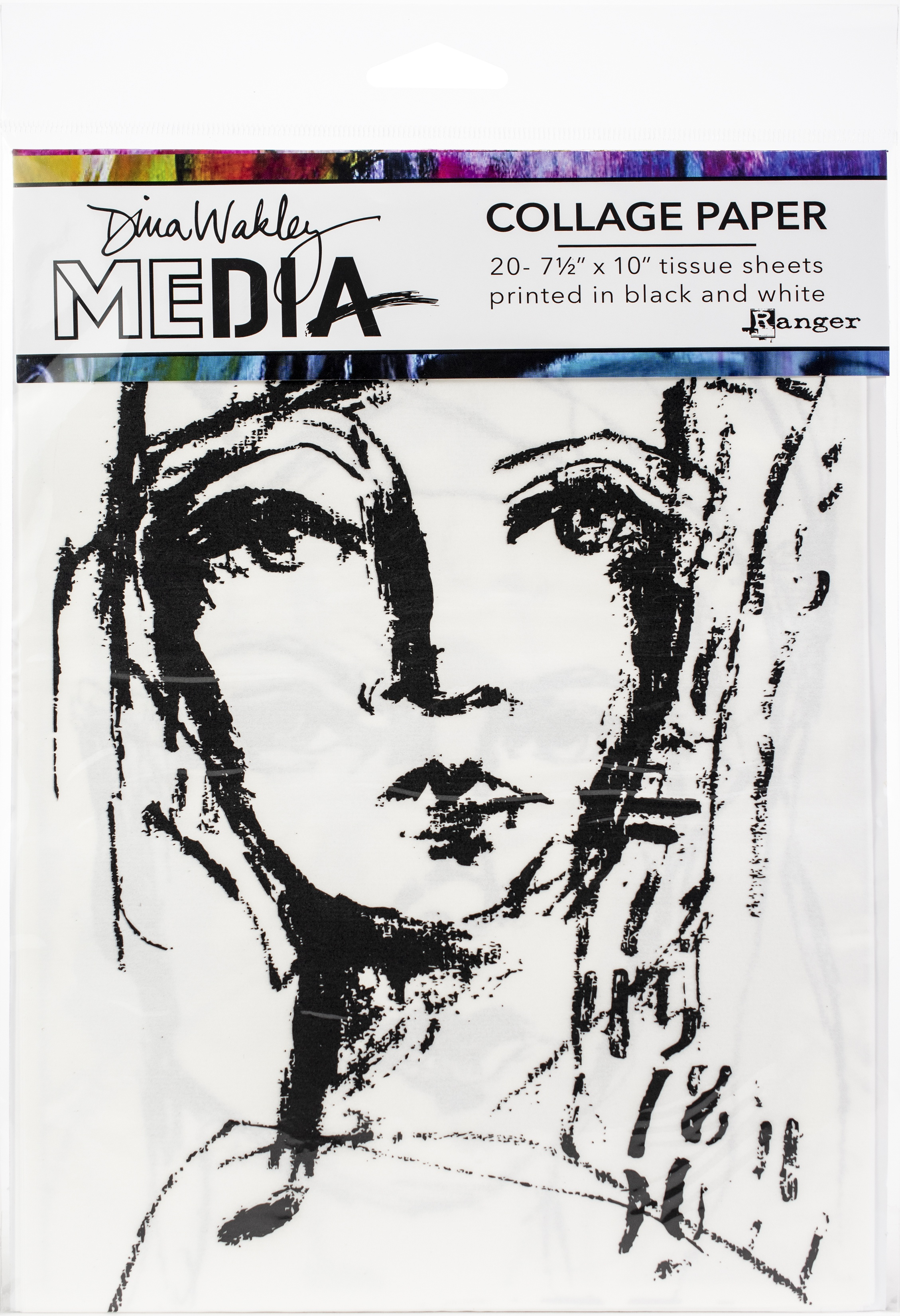 Dina Wakley Media Collage Tissue Paper  7.5X10 20/Pkg-Faces