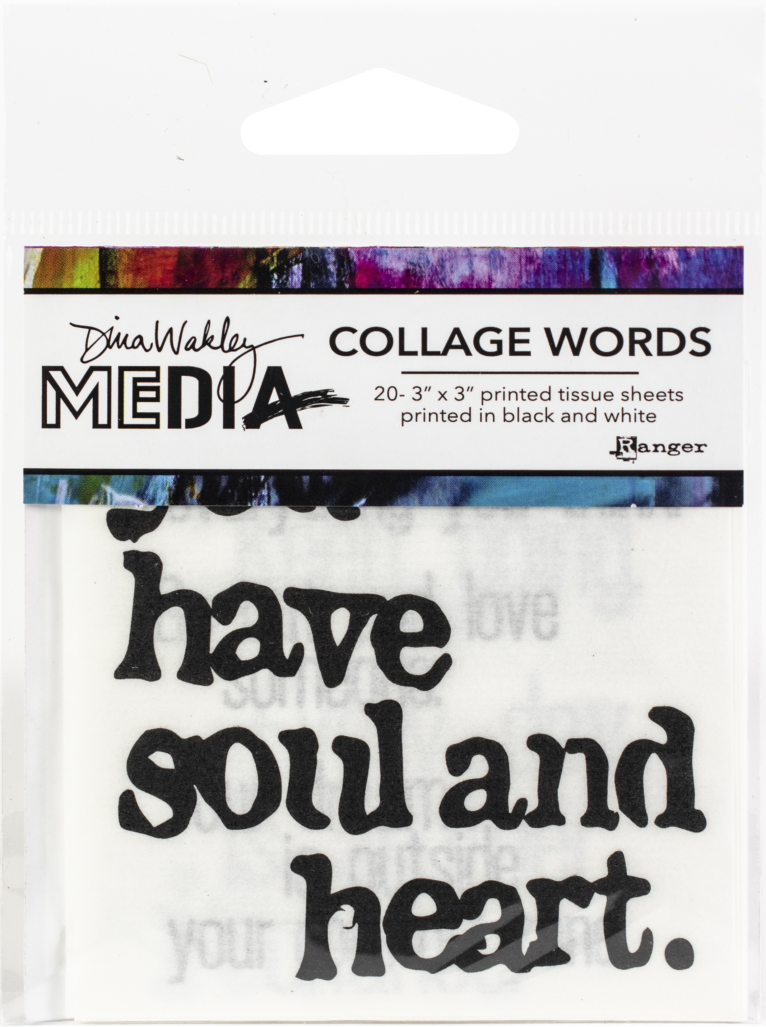 Dina Wakley Media Collage Word Pack 3X3 20/Pkg-#2