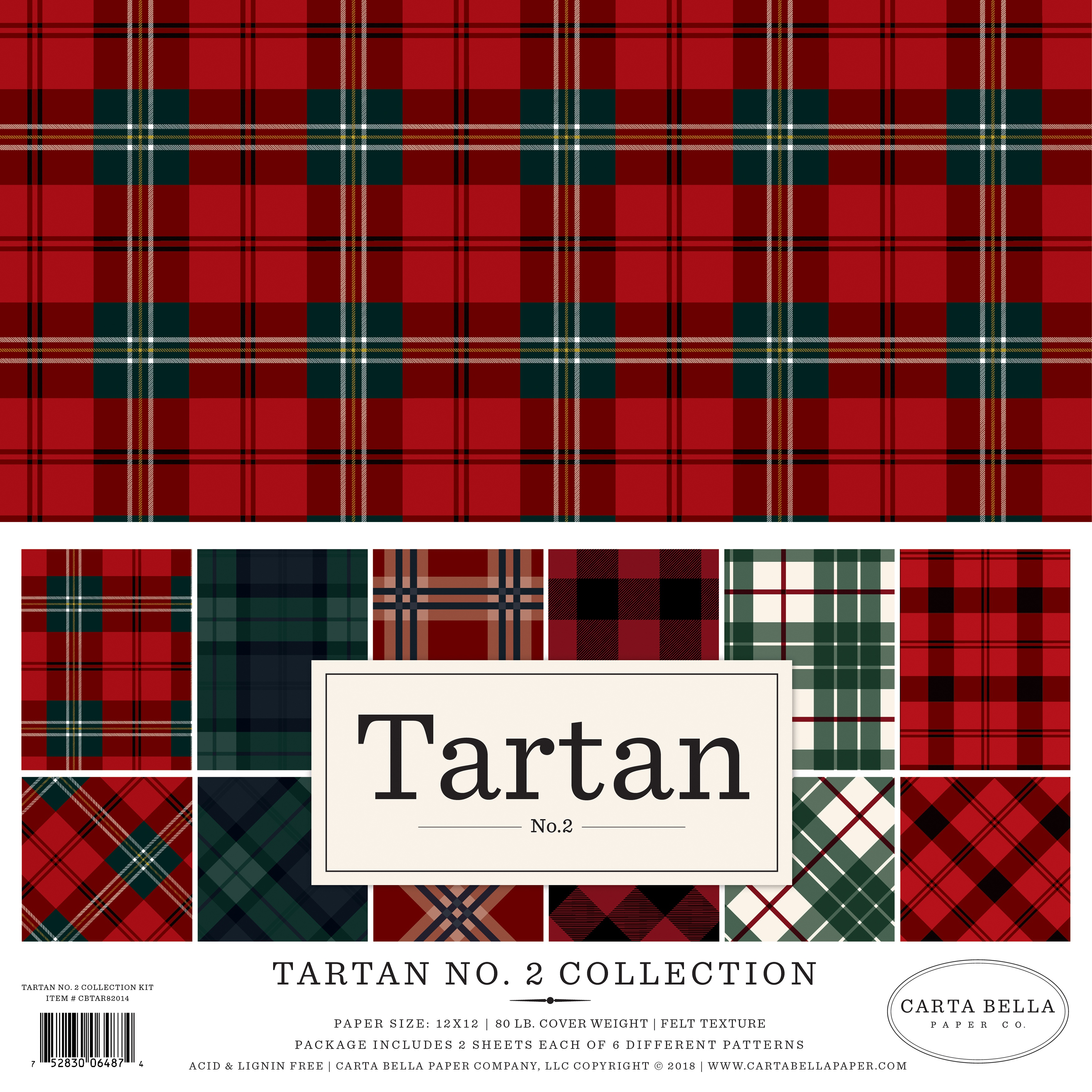 Carta Bella Double-Sided Collection Kit 12X12 12/Pkg-Tartan No