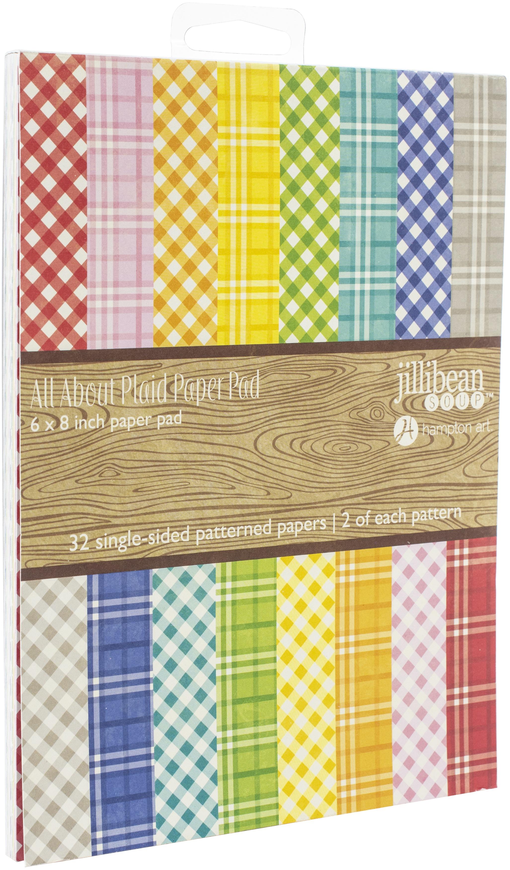 Jillibean Soup Single-Sided Paper Pad 6X8 64/Pkg-All About Plaid, 32 Designs/2...