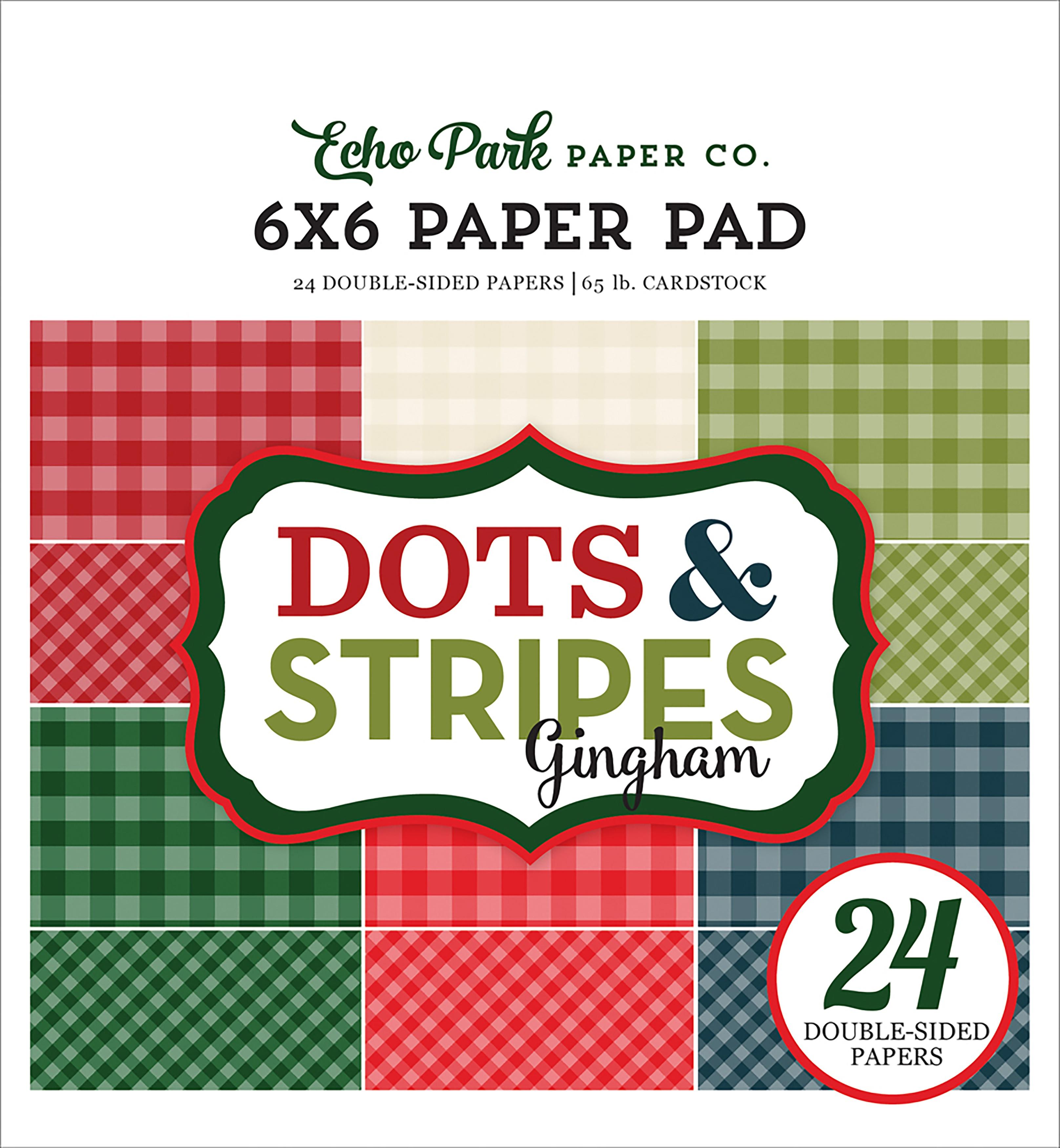 Echo Park Double-Sided Paper Pad 6X6 24/Pkg-Christmas Gingham, 6 Colors/4 Each