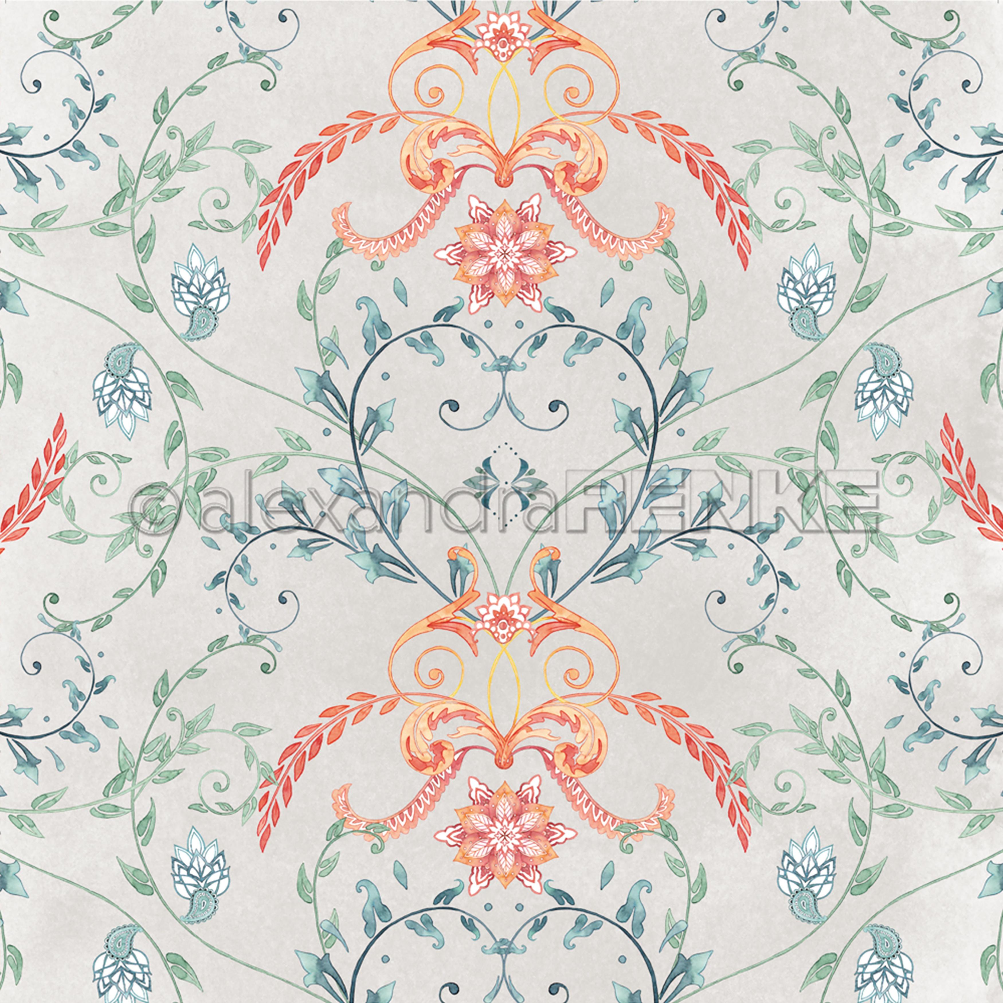 Alexandra Renke Ornamentic Paper 12X12-Colorful Heart Tendril