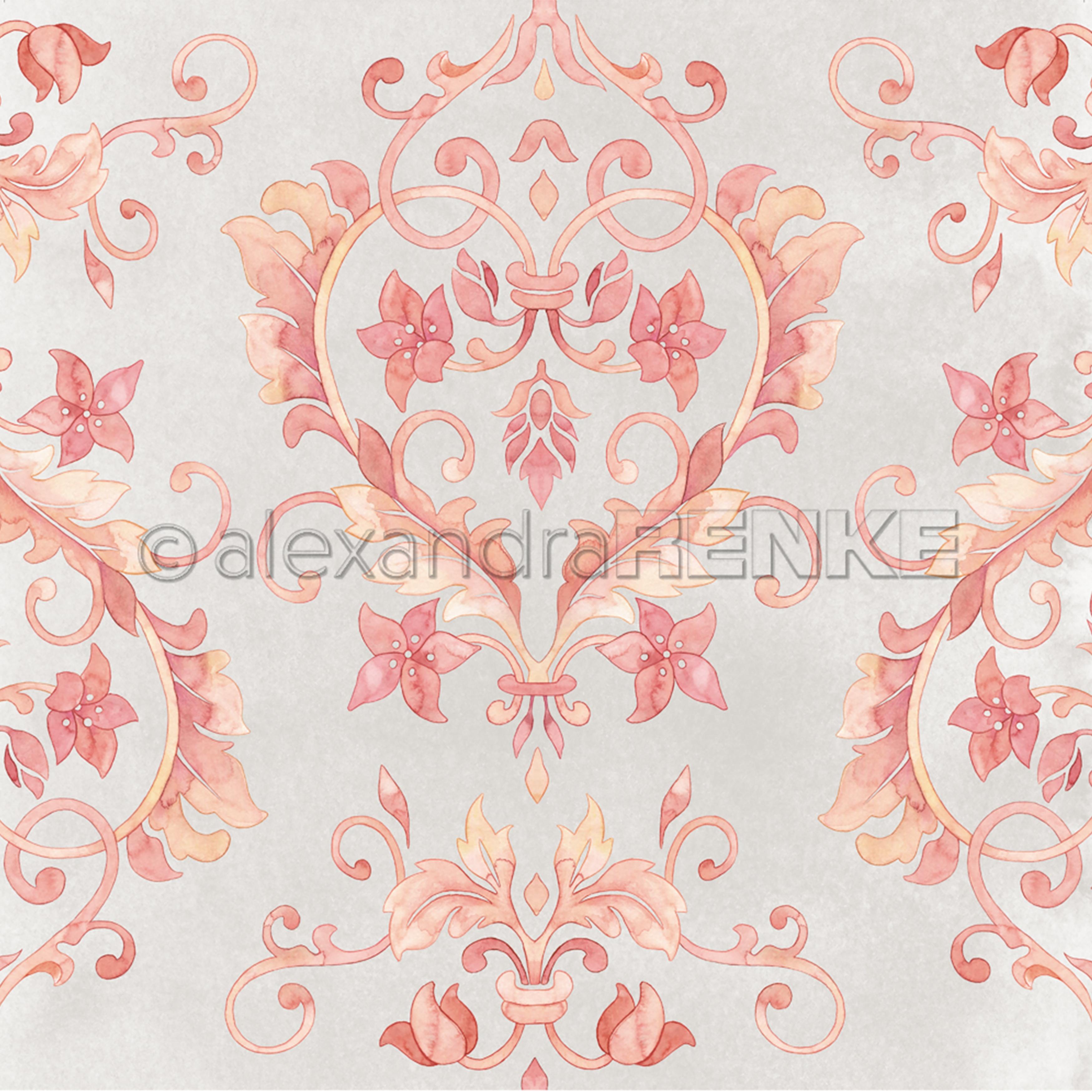 Alexandra Renke Ornamentic Paper 12X12-Heart Vine Reds