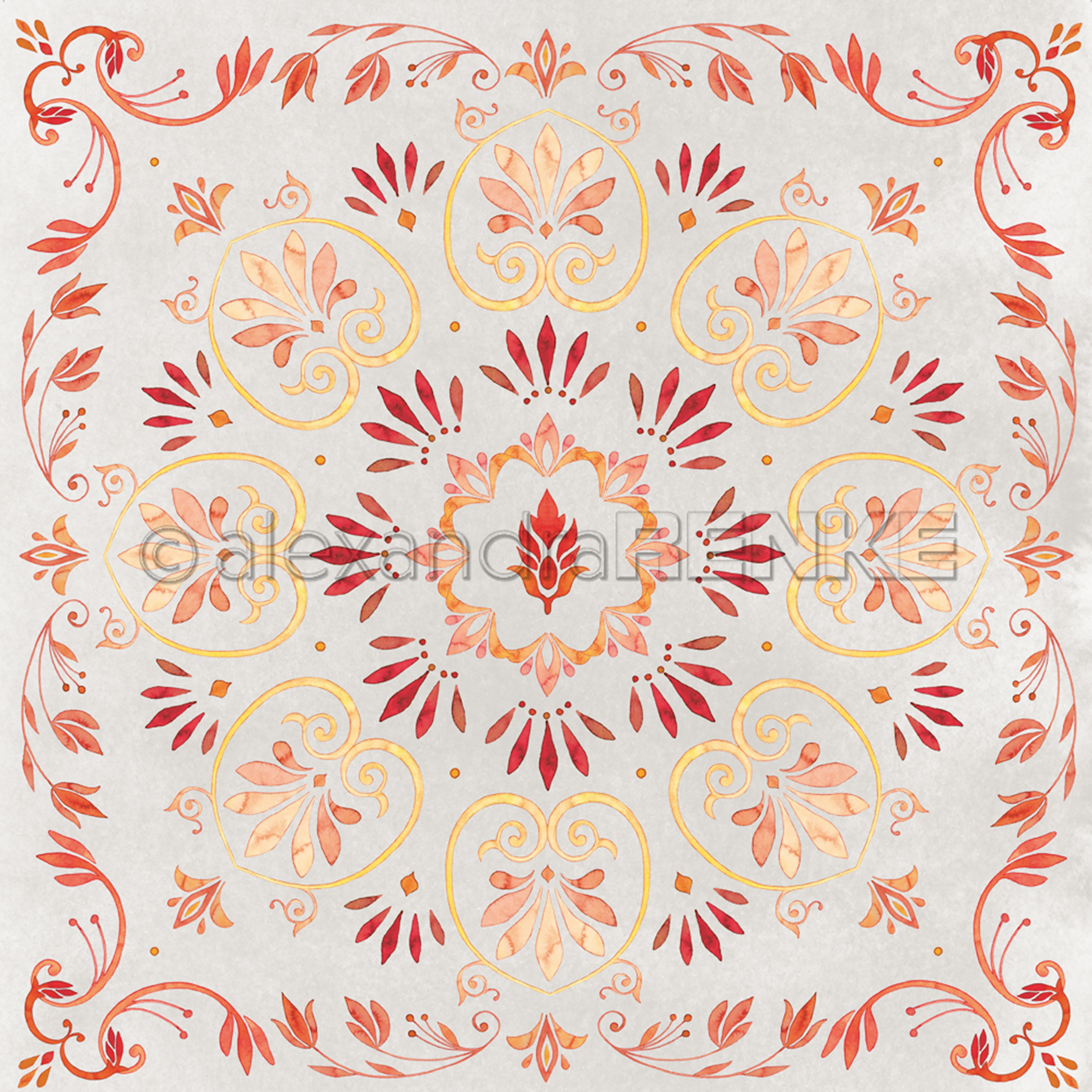 Alexandra Renke Ornamentic Paper 12X12-Red/Yellow Mandala