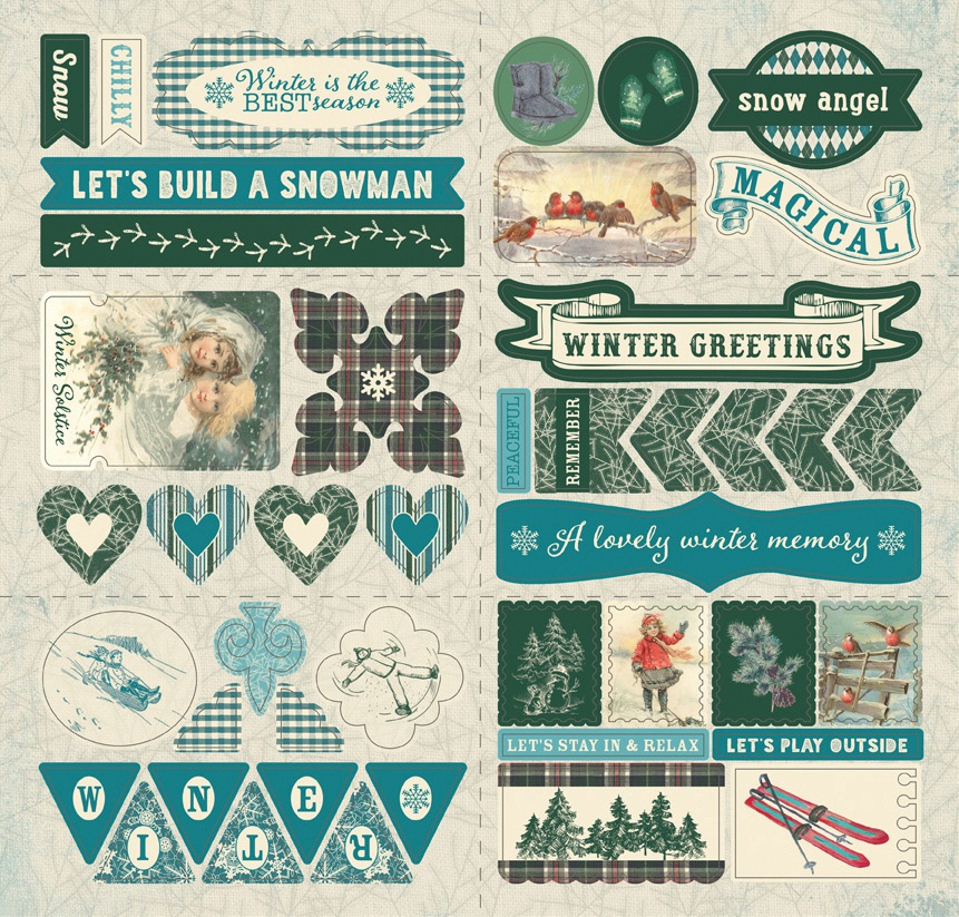 Solitude Double-Sided Cardstock Die-Cut Sheet 12X12-Elements