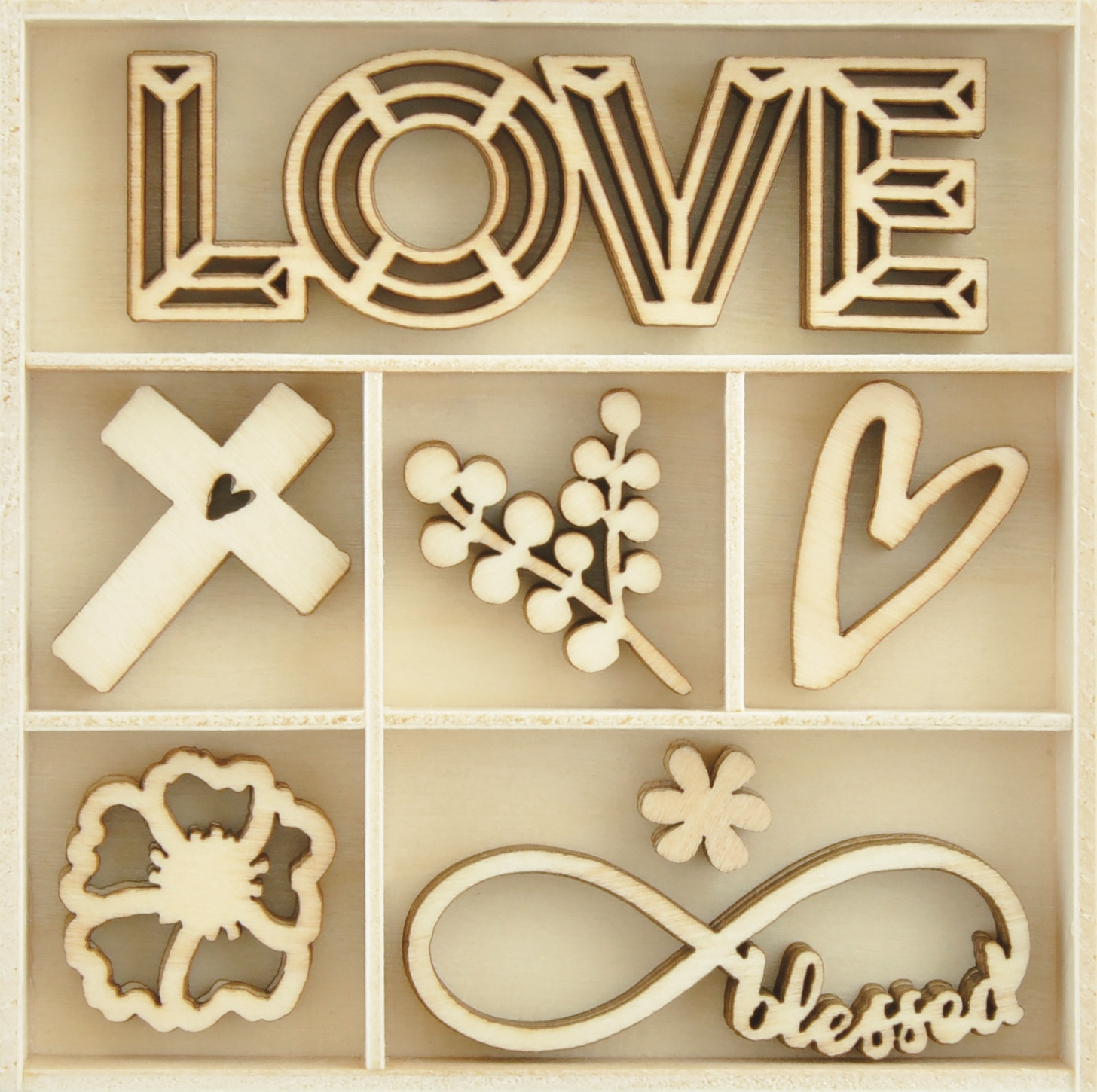 Kaisercraft Wood Mini Themed Embellishments-Blessings, 35/Pkg